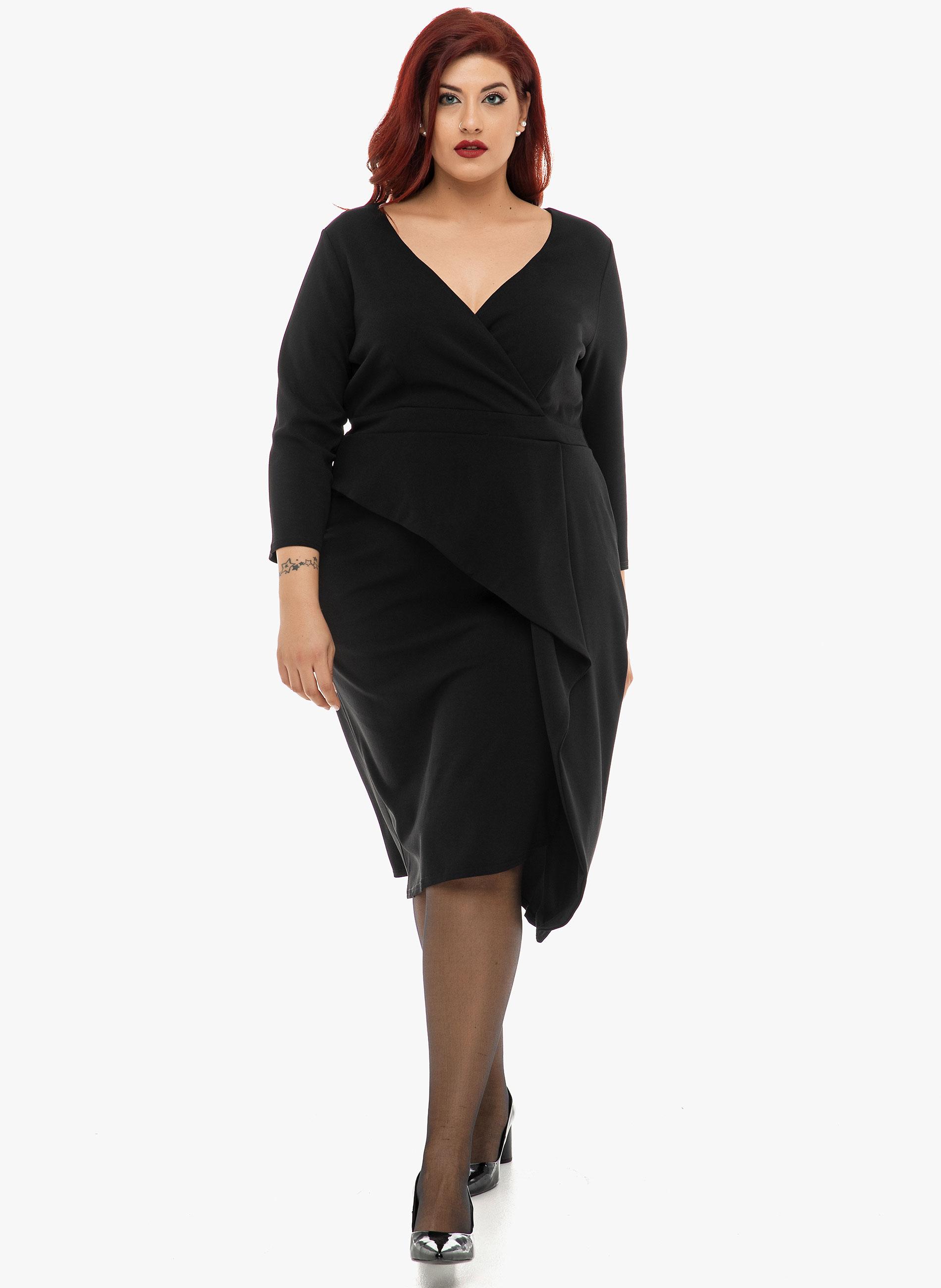 Φόρεμα Μαύρο Μίντι Fold Over