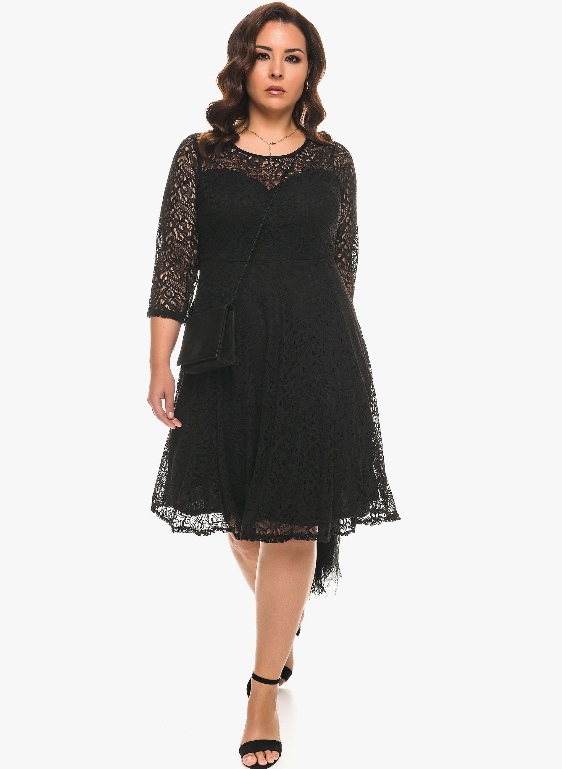 97a35e671c18 ΜΕΓΑΛΑ ΜΕΓΕΘΗ ΦΟΡΕΜΑΤΑ    Δαντελένιο Μαύρο Φόρεμα σε  Α  Γραμμή ...