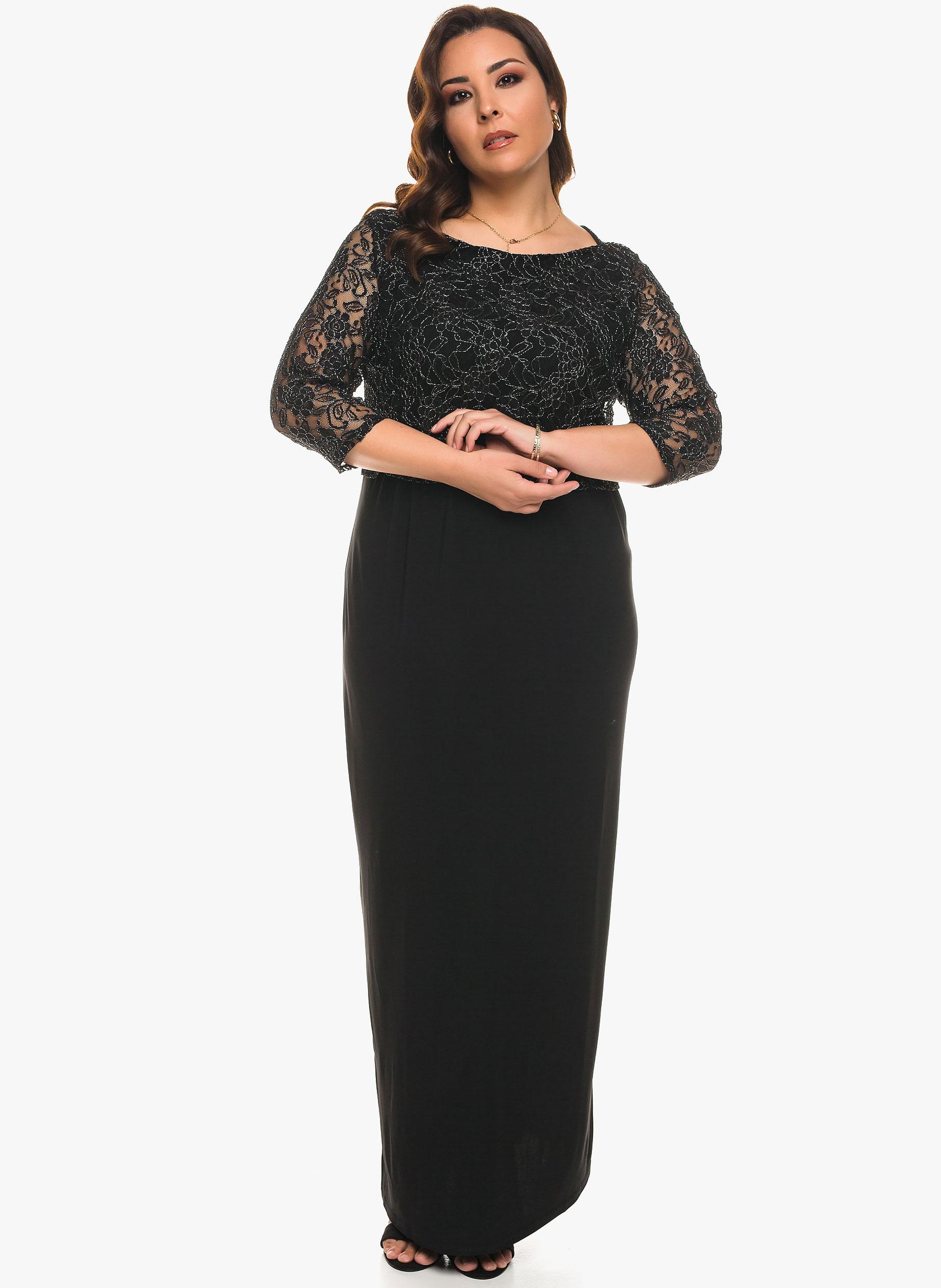 7e156d4305d2 ΜΕΓΑΛΑ ΜΕΓΕΘΗ ΦΟΡΕΜΑΤΑ    Μάξι Φόρεμα με Μεταλλική Δαντέλα - Μόδα σε ...