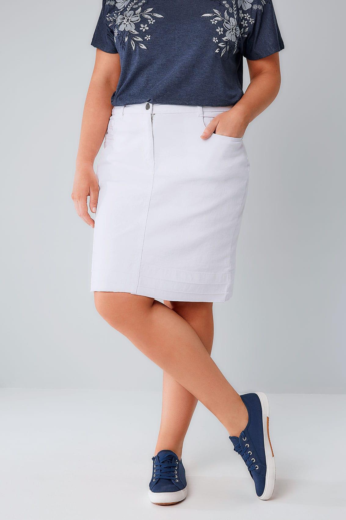 8e33aaa79511 ΦΟΥΣΤΕΣ    Φούστα Denim Midi Λευκή - Μόδα σε μεγάλα μεγέθη
