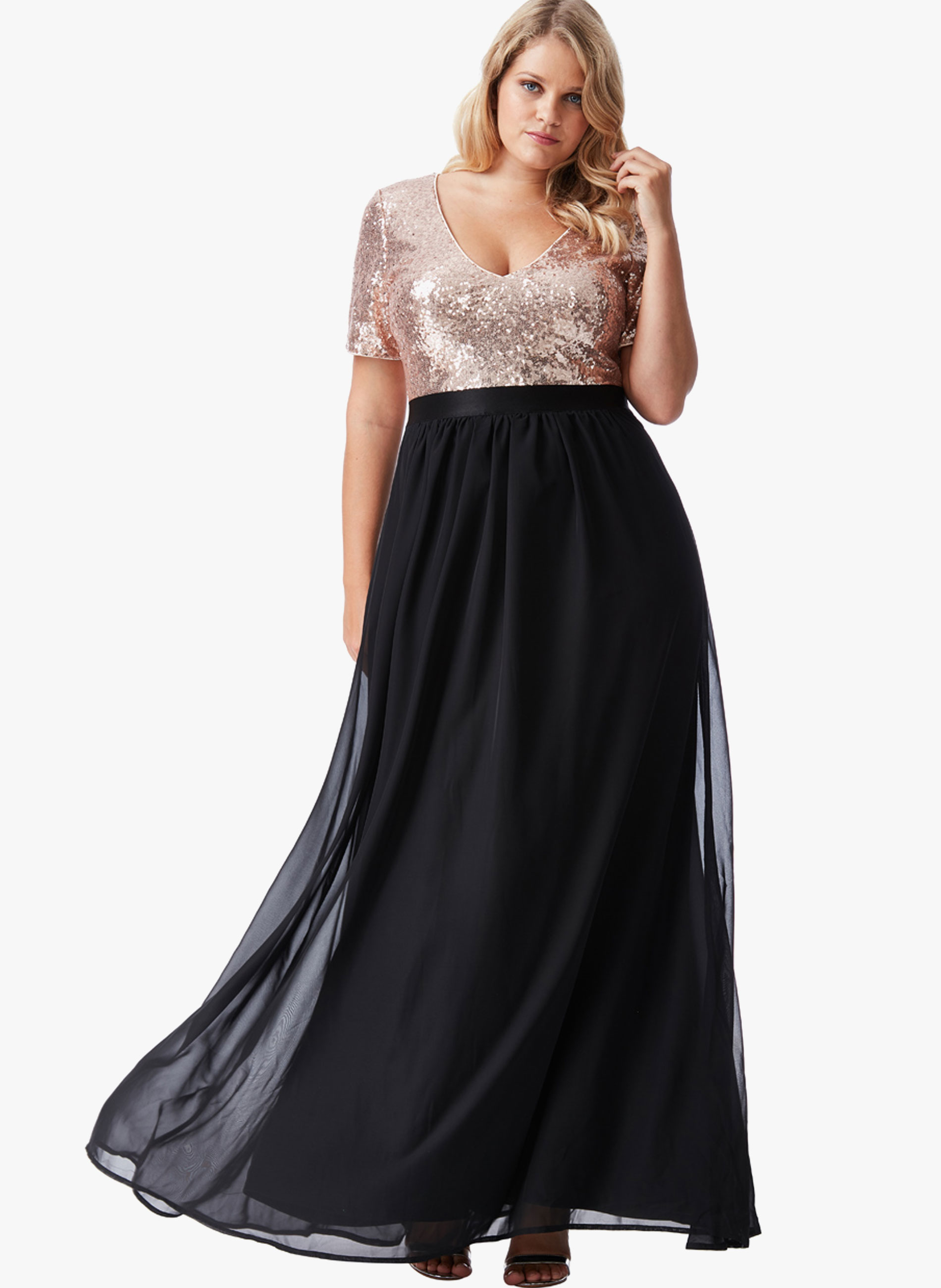 bb599222a81f ΜΕΓΑΛΑ ΜΕΓΕΘΗ ΦΟΡΕΜΑΤΑ :: Φόρεμα Maxi με Χρυσή Παγιέτα - Μόδα σε ...