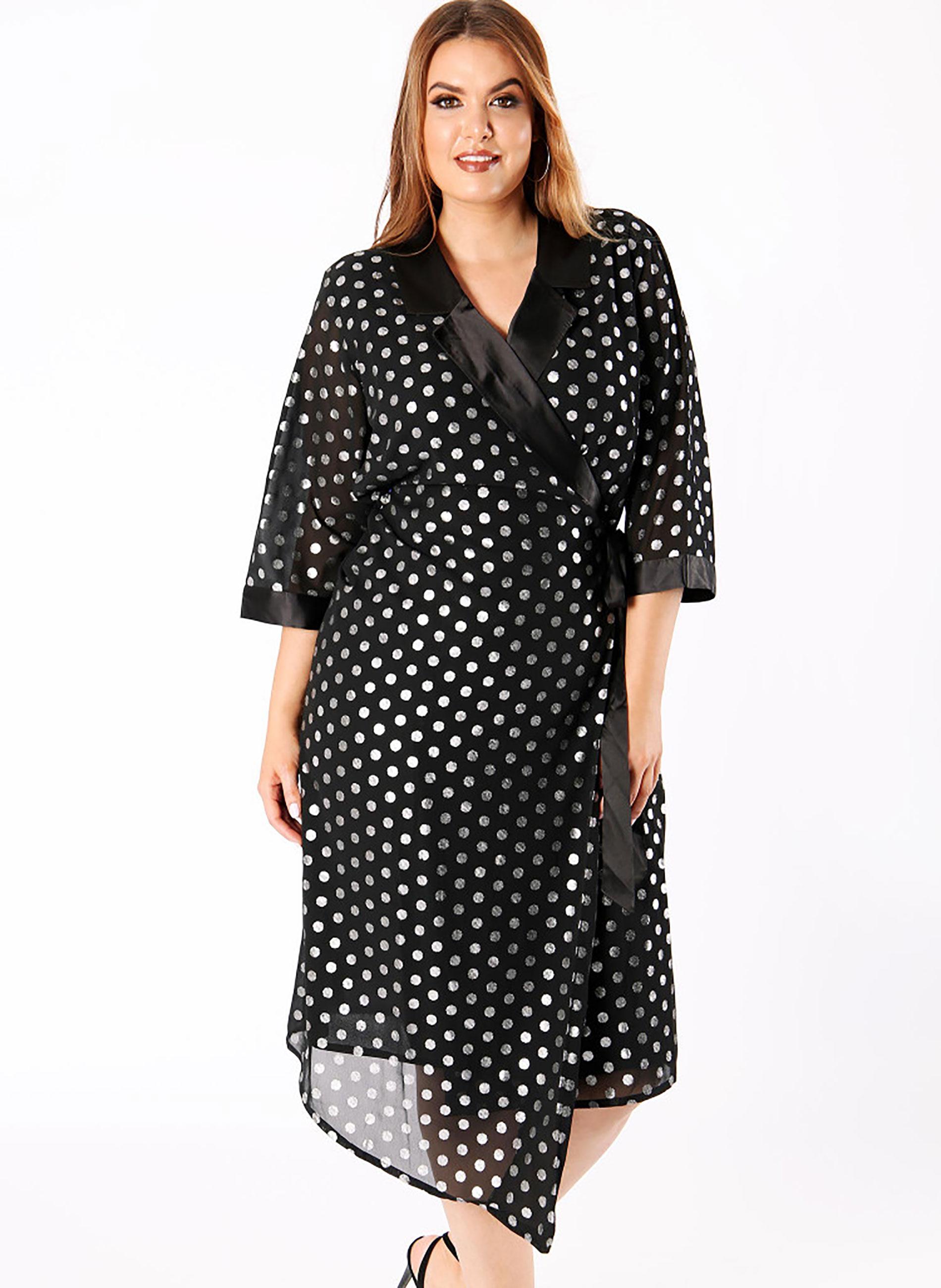 1d5f13e555ec ΜΕΓΑΛΑ ΜΕΓΕΘΗ ΦΟΡΕΜΑΤΑ    Μαύρο Φόρεμα με Ασημί Πουά - Μόδα σε ...