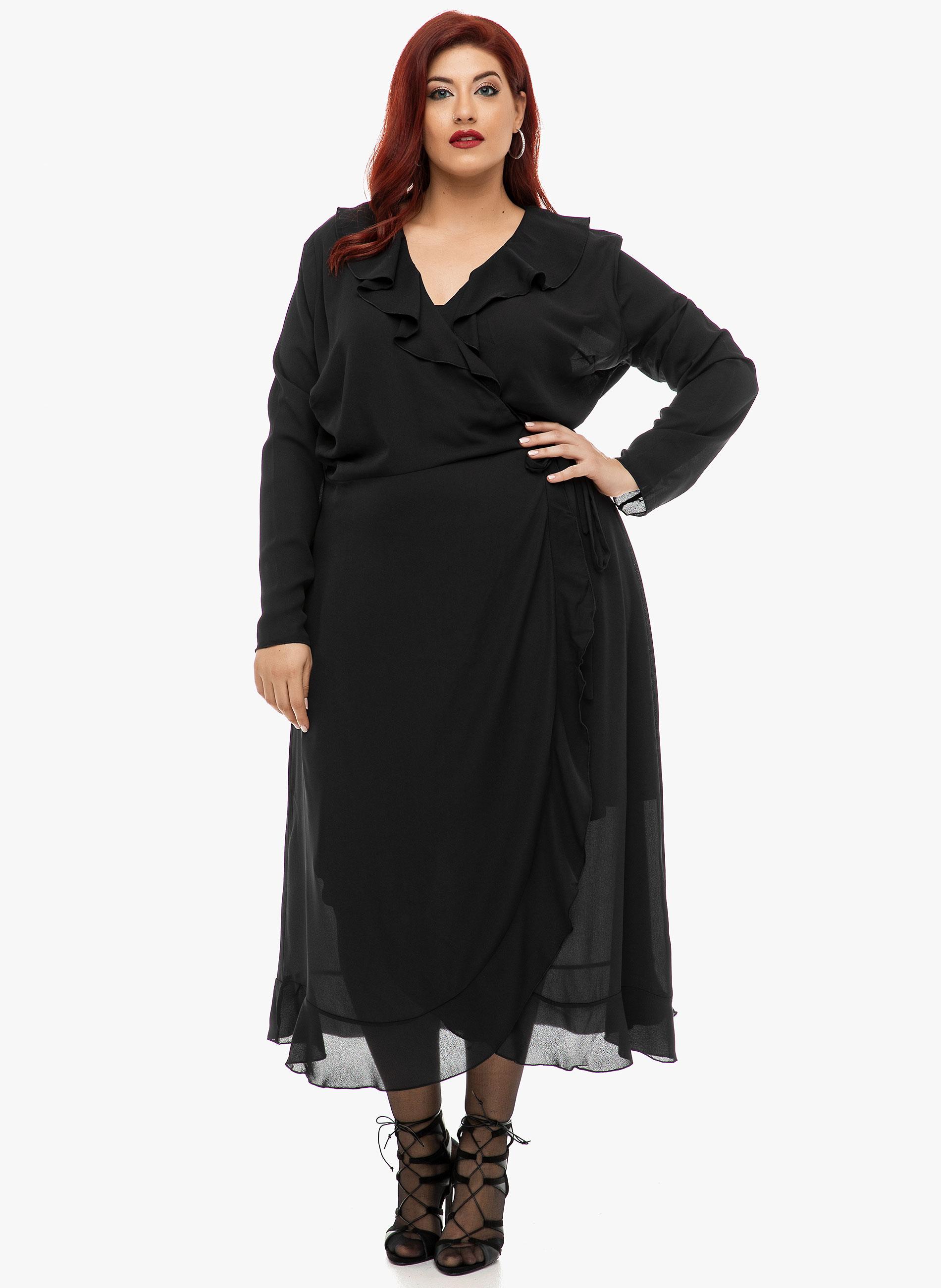 Μαύρο Κρουαζέ Φόρεμα με Ξεχωριστό Μεσοφόρι