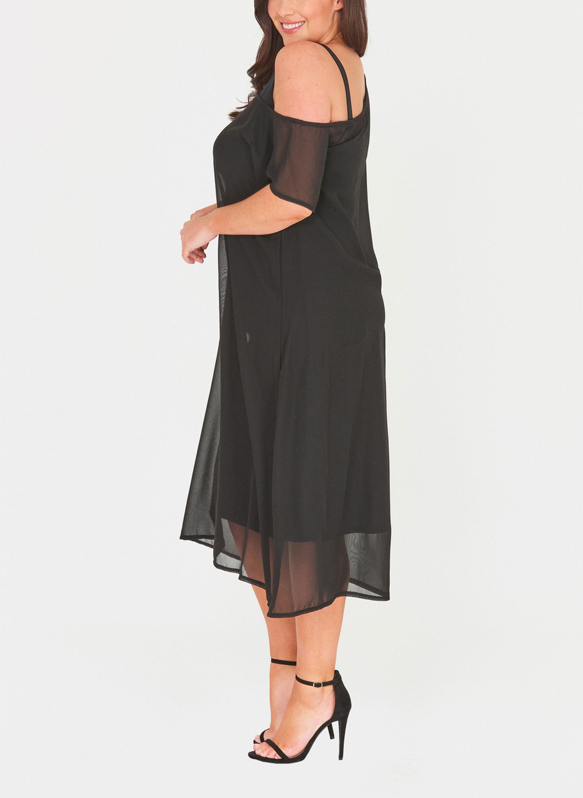 ΜΕΓΑΛΑ ΜΕΓΕΘΗ ΦΟΡΕΜΑΤΑ    Φόρεμα Μαύρο Σιφόν με Χαλαρό Ώμο - Μόδα σε ... 9f62b9af5be