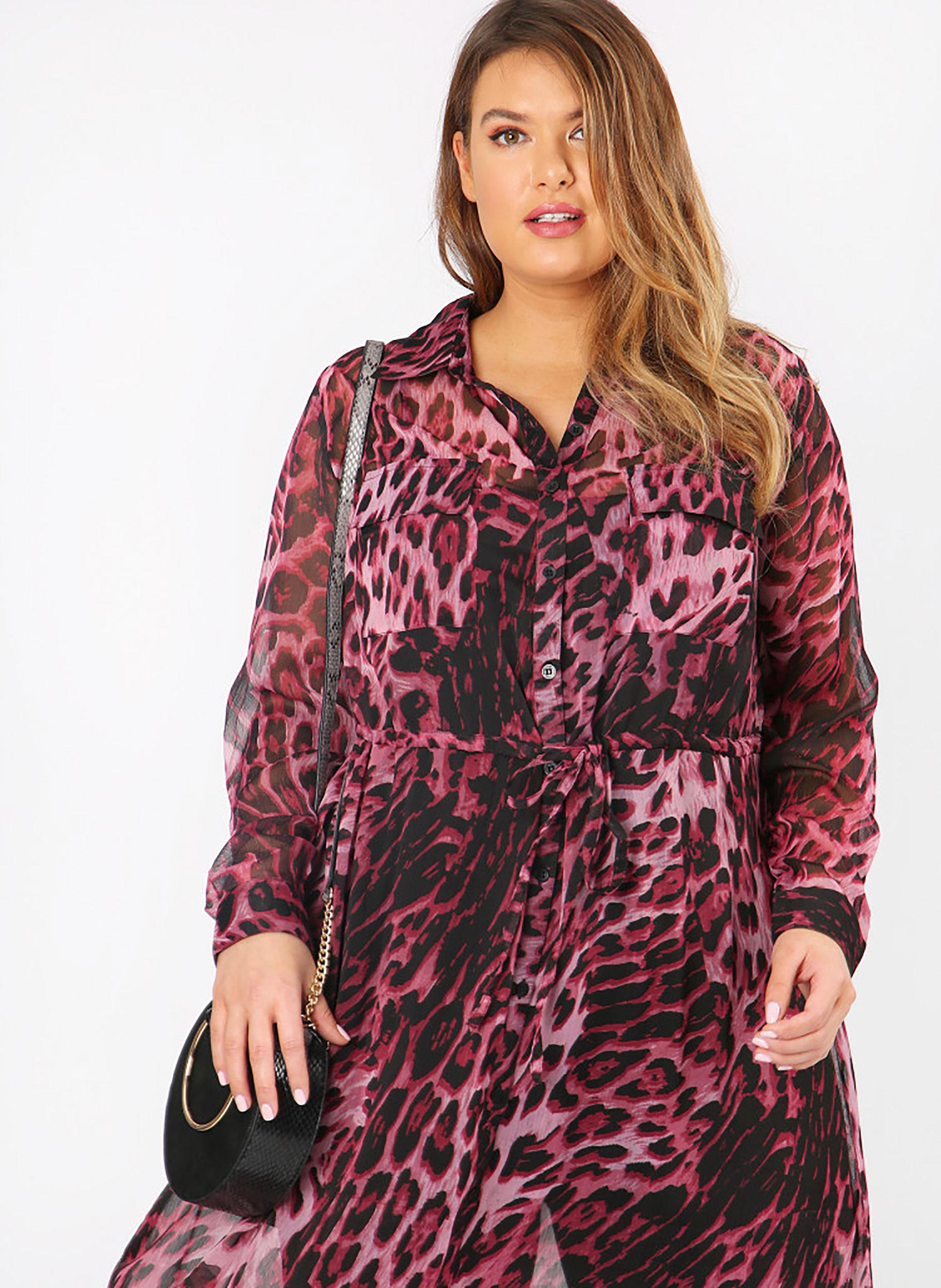 8322c98ad04d ΠΟΥΚΑΜΙΣΑ    Πουκάμισο Μακρύ Διαφανές Ροζ Leopard - Μόδα σε μεγάλα ...
