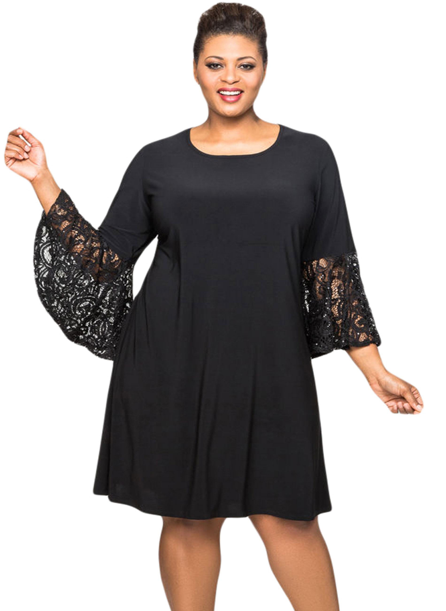 9461ac682e3e ΜΕΓΑΛΑ ΜΕΓΕΘΗ ΦΟΡΕΜΑΤΑ    Φόρεμα Μαύρο με Δαντελωτά Μανίκια Καμπάνα ...