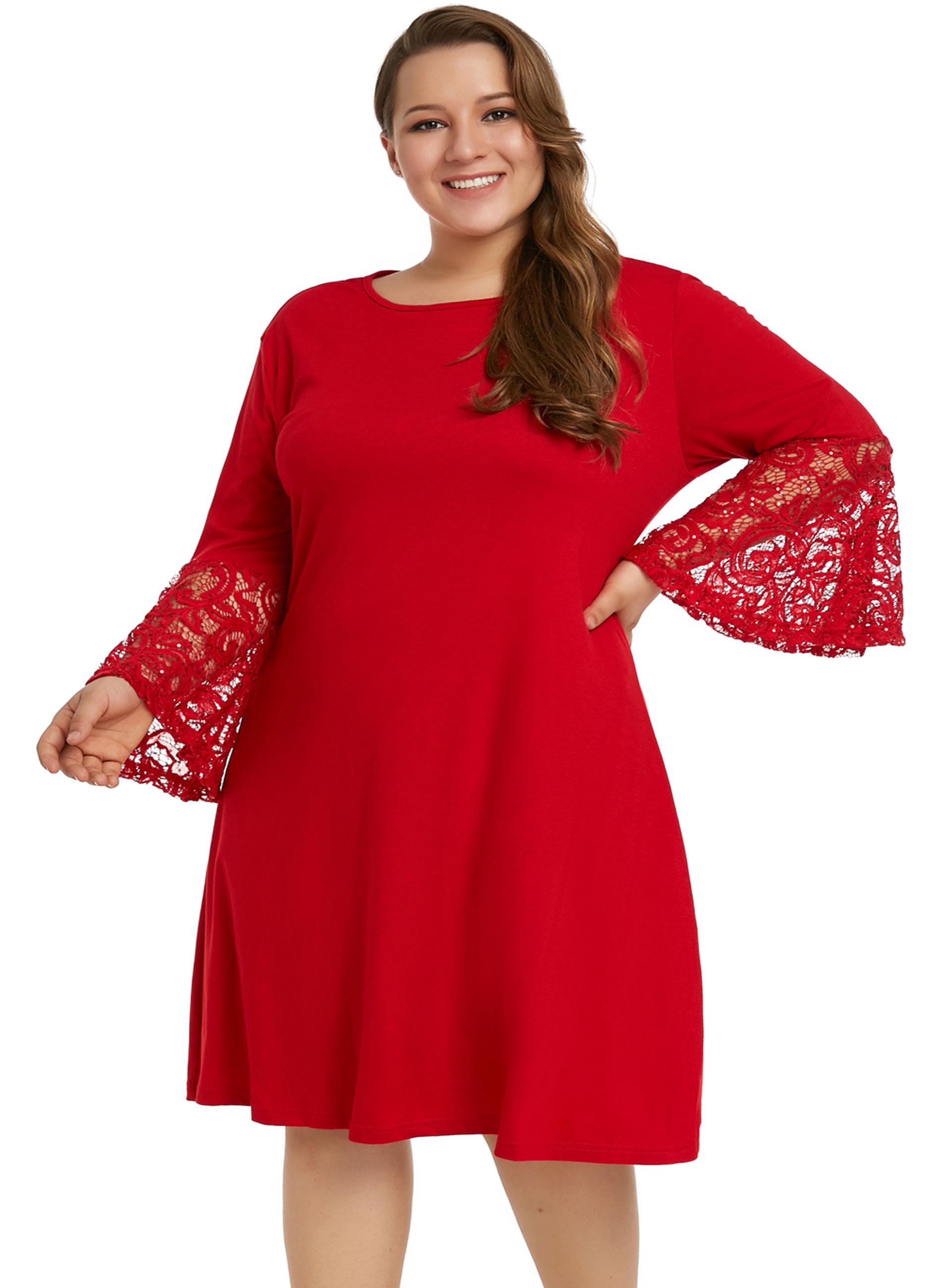 4443b0670ea ΜΕΓΑΛΑ ΜΕΓΕΘΗ ΦΟΡΕΜΑΤΑ :: Φόρεμα Κόκκινο με Δαντελωτά Μανίκια ...