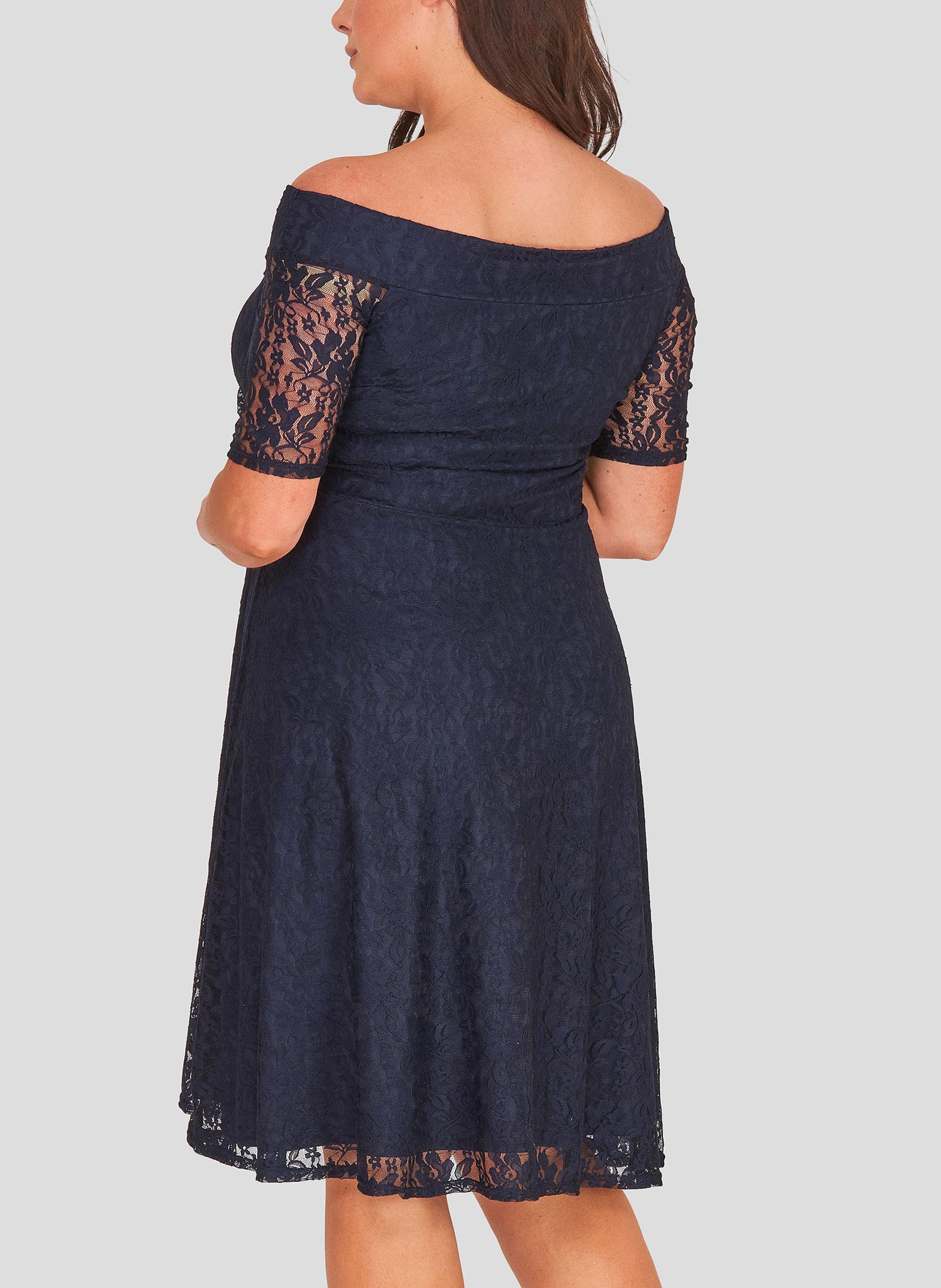 a6029c24e5ec ΜΕΓΑΛΑ ΜΕΓΕΘΗ ΦΟΡΕΜΑΤΑ :: Φόρεμα Έξωμο Navy Δαντέλα - Μόδα σε μεγάλα ...