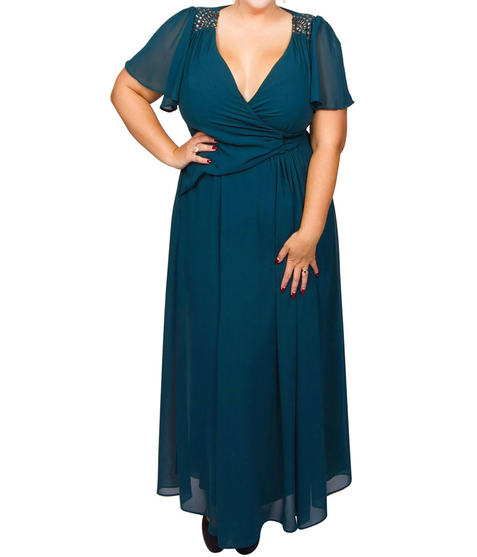 f9827f7f724 ΜΕΓΑΛΑ ΜΕΓΕΘΗ ΦΟΡΕΜΑΤΑ :: Φόρεμα Μάξι Πετρόλ Μουσελίνα - Μόδα σε ...