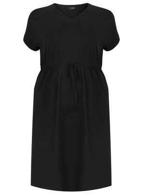 Φόρεμα Μαύρο Jersey με Λάστιχο στην Μέση Maniags