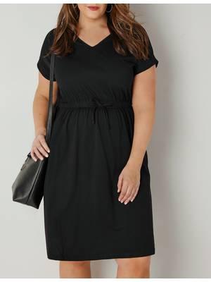 Φόρεμα Μαύρο Jersey με Λάστιχο στην Μέση Black_Jersey_T-Shirt_Dress_With_Drawstring_Waist_136220_3c10 Maniags