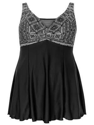 Μαγιό-Φόρεμα με Ασπρόμαυρο Σχέδιο στο Στήθος Maniags