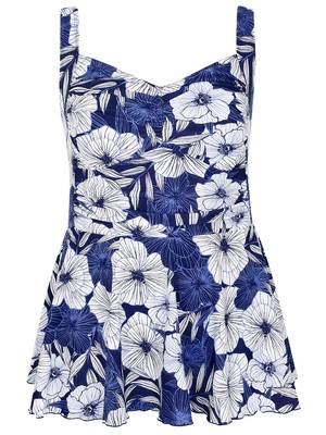 Μαγιό Φόρεμα Φλοράλ Blue_White_Hibiscus_Floral_Print_Swimdress_150002_8eef Maniags