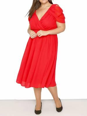 Φόρεμα Midi Κόκκινο Chiffon DR3505-03 Maniags