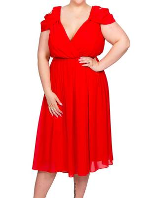 Φόρεμα Midi Κόκκινο Chiffon Maniags