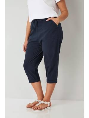 Παντελόνι Βαμβακερό Navy Κάπρι Navy_Cool_Cotton_Cropped_Trousers_144082_cbe2 Maniags