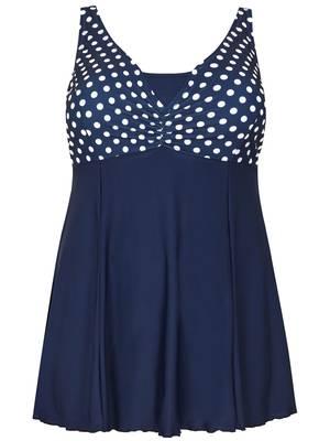 Μαγιό-Φόρεμα Μπλε με Πουά Σχέδιο στο Στήθος Maniags