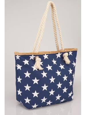 Τσάντα Θαλάσσης Navy με Λευκά Αστέρια Navy_White_Star_Print_Beach_Bag_With_Rope_Handles_152243_fff7 Maniags