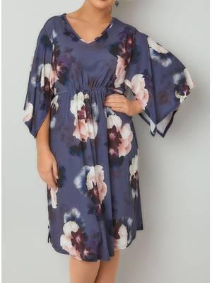 Φόρεμα Μωβ Φλοραλ με Μανίκι Νυχτερίδα Purple_Floral_Print_Ruched_Waist_Midi_Dress_With_Wide_Split_Sleeves_136125_e02f Maniags
