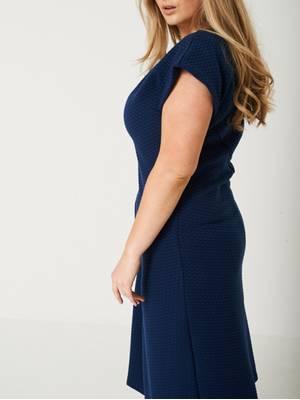 Φόρεμα Κοντομάνικο με Ανάγλυφο Σχέδιο nevena-blue0731 Maniags