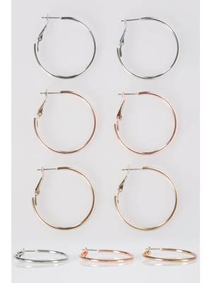 Σετ Κρίκοι 3 Τεμάχια 3_PACK_Mixed_Hoop_Earrings_152183_429c Maniags