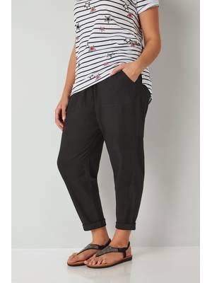 Παντελόνι Μαύρο Λινό Black_Linen_Mix_Pull_On_Tapered_Trousers_142174_2779 Maniags