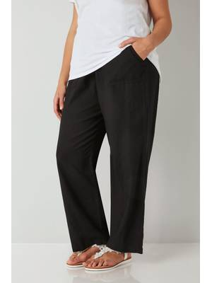 Παντελόνα Μαύρη Λινή Black_Linen_Mix_Pull_On_Wide_Leg_Trousers_142170_547f Maniags