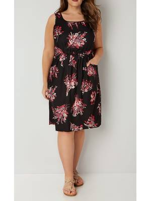 Φόρεμα Φλοραλ Βισκόζης Αμάνικο Black_Pink_Floral_Print_Pocket_Dress_With_Elasticated_Waist_170433_9538 Maniags