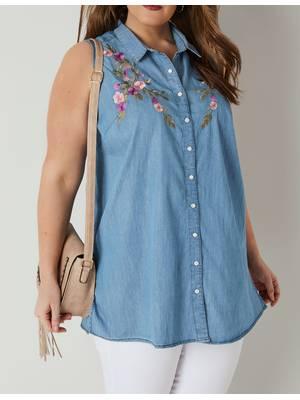 Αμάνικο Πουκάμισο Denim με Κέντημα Blue_Floral_Embroidery_Sleeveless_Denim_Shirt_130314_19ff Maniags