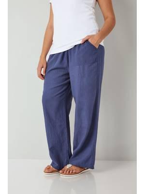 Παντελόνα Μπλε Λινή Blue_Linen_Mix_Pull_On_Wide_Leg_Trousers_With_Pockets_142171_452b Maniags