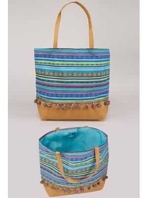 Τσάντα Θαλάσσης Μπλε Πολύχρωμη Blue_Multi_Stripe_Pom_Pom_Beach_Bag_With_Straw_Handles_Panel_152248_c728 Maniags