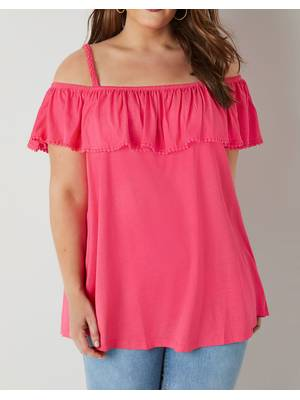 Μπλούζα Έξωμη Φούξια Bright_Pink_Longline_Frilled_Bardot_Top_132601_0a13 Maniags