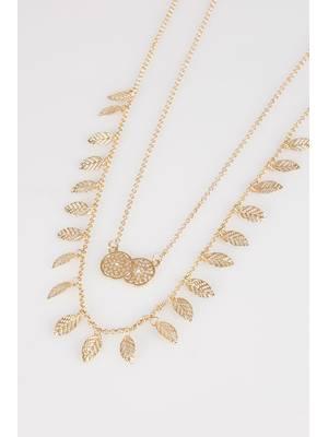 Κολιέ Χρυσό Διπλό Gold_Double_Layer_Leaf_Circle_Pendant_Long_Necklace_152098_dbb0 Maniags
