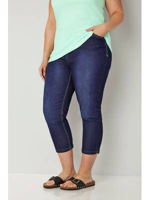 Τζιν Κάπρι Indigo Blue Ελαστικό Indigo_Blue_Cropped_Denim_Jeans_144145_9c23 Maniags