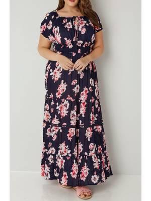 Φόρεμα Μάξι Φλοράλ Navy_Pink_Floral_Print_Frilled_Maxi_Dress_With_Elasticated_Waist_136251_be7c Maniags