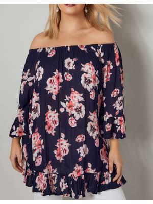 Τοπ Έξωμο Φλοράλ Navy_Pink_Floral_Print_Gypsy_Top_With_Bell_Sleeves_130233_71b6 Maniags