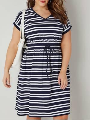 Φόρεμα Μαρινιέρα Βαμβακερό Navy_White_Striped_Jersey_T-Shirt_Dress_With_Drawstring_Waist_136218_834f Maniags