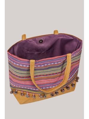 Τσάντα Θαλάσσης Ροζ Πολύχρωμη Pink_Multi_Stripe_Pom_Pom_Beach_Bag_With_Straw_Handles_Panel_152247_5e27 Maniags