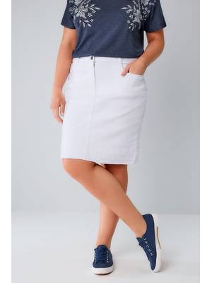 Φούστα Denim Midi Λευκή White_5_Pocket_Denim_Skirt_With_Raw_Hem_160006_5247 Maniags