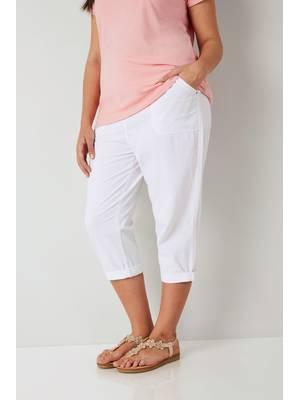Παντελόνι Βαμβακερό Λευκό Κάπρι Maniags