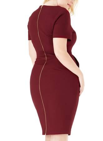 Φόρεμα Midi Μπορντό με Φερμουάρ 288_3 Maniags