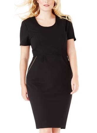 Φόρεμα Midi Μαύρο με Φερμουάρ Maniags