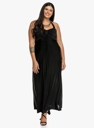 Μάξι Φόρεμα Μαύρο με Δέσιμο στο Λαιμό Maniags