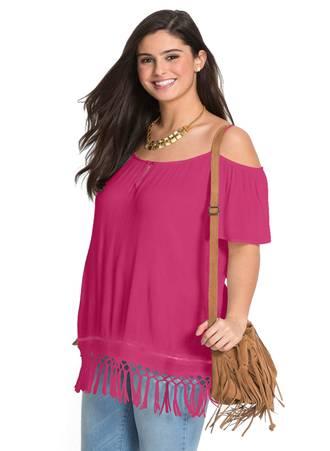 Έξωμη Μπλούζα Ροζ με Κρόσσια LC251914-6-0 Maniags