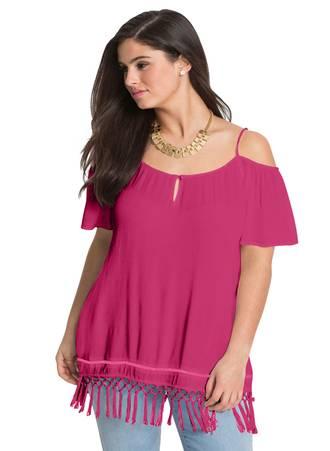 Έξωμη Μπλούζα Ροζ με Κρόσσια Maniags