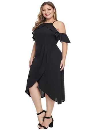 Φόρεμα Μαύρο Midi Έξωμο LC611156-2-1 Maniags