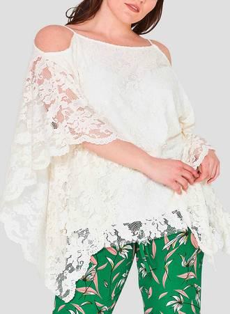 Αμπιγιέ Δαντελένια Μπλούζα Λευκή με Χαλαρό Μανίκι Maniags