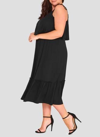 Φόρεμα Μαύρο Jersey double-layer-plus-size-maxi-dress-3 Maniags