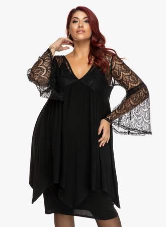 Μπλουζοφόρεμα Μίντι Μαύρο με Δαντέλα Maniags