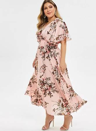 Φόρεμα Μάξι Ροζ Φλοραλ Κρουαζέ ezgif11 Maniags